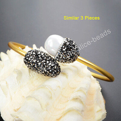 3Pcs White Shell Pearl Brass Gold Plated Open Bangle With CZ Pave Jewelry TJA436