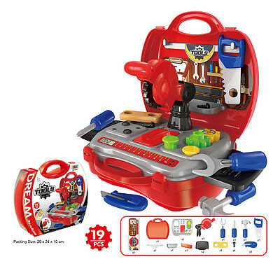 Kids Children Repair Tools Toy Set Pretend Play Tool Kit with Red Suitcase Gifts