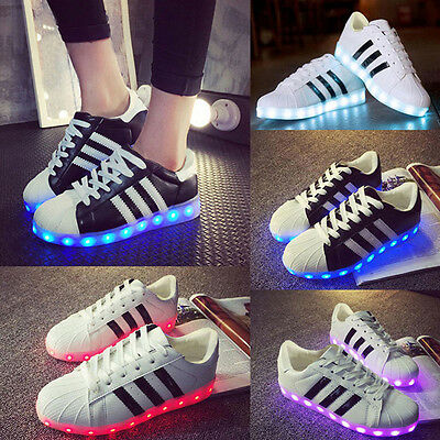 Unisex LED Light Up Shoes Luminous Sneakers Men Women Sportswear Striped Casual