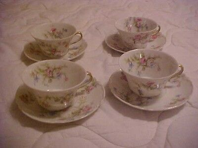 4 HAVILAND LIMOGES CUPS and SAUCERS, PINK AND BLUE FLORALS, DOUBLE MARKED