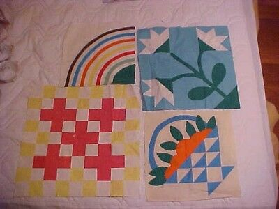 7 Assorted Quilt Blocks, Noon Day Lily, 5 Crosses, Basket Of Oranges
