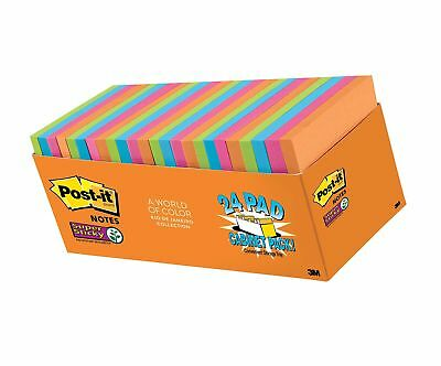 Post-it Super Sticky Notes, 3 in x 3 in, Rio de Janeiro Collection, 24 Pads, ...