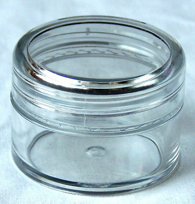 100 x 20g CLEAR PLASTIC COSMETIC SAMPLE JAR w LID (choose colour) 28ml CONTAINER