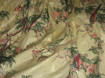 Gorgeous Custom Made Lined Pinch Pleat Vintage Drapes  Birds Must See!