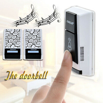 36 Chimes Waterproof Wireless Doorbell Remote Control 2 Receiver Home