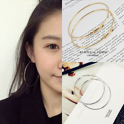Women Big Circle Large Round Hoop Dangle Earrings Studs Gold Silver Jewelry New