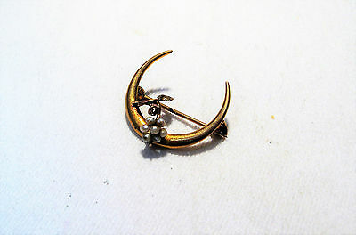 Antique Victorian 10K Gold Seed Pearl Crescent Moon Brooch Pin K141
