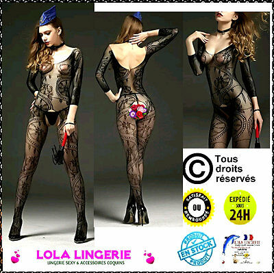 Combinaison Ouvert Jambes Lingerie Coquine Bodystocking Integral Tenue Sexy B38