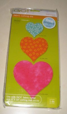 "Accuquilt Go! Fabric Cutting Die Hearts 2"", 3"", 4"" Size - #55029 - NEW"