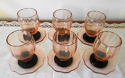 Set Of 6 X Art Deco Pink Depression Black Footed Glasses With Petal Shape Saucer