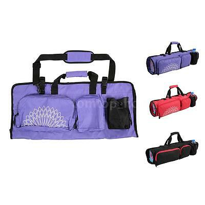 Fit Spirit Yoga Mat Bag w/ Open Ends Mobile Pocket + Water Bottle Holder B8U9