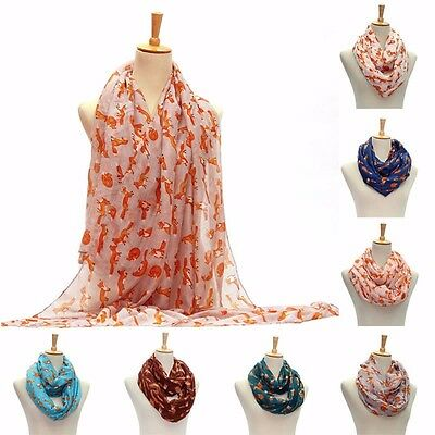 Women Pashmina Long Soft Cotton Voile Fox Print Scarves Shawl Wrap Scarf Stole