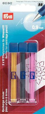 Prym 18 x Assorted Coloured Cartridge Pencil Refills Extra Fine 0.9mm 610 842