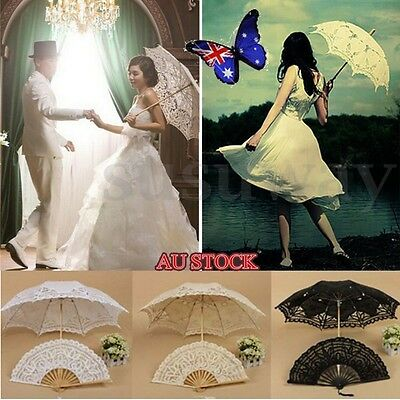Vintage Lady Handmade Cotton Lace Parasol Umbrella Wedding Bridal Party Decor AU