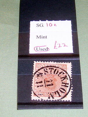 SWEDEN STAMPS, SG 10a, FINE USED, STATED TO CATALOGUE £22.