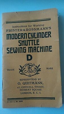 instruction booklet frister & rossmanns modern cylinder shuttle sewing machine D