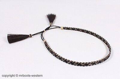 cd4820e2a574f Horse Hair Hat Band for Cowboy Hats Black   Natural with Five Strands 2  Tassels