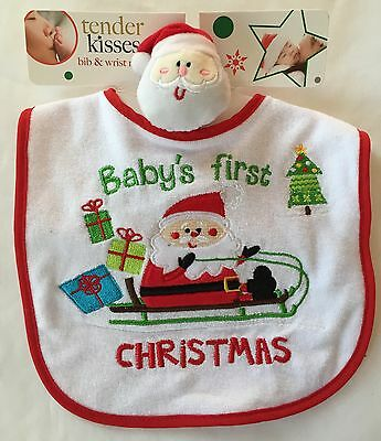 Baby's 1st Christmas Baby Infant Bibs Wrist Rattle Holiday or Baby Shower Gift!