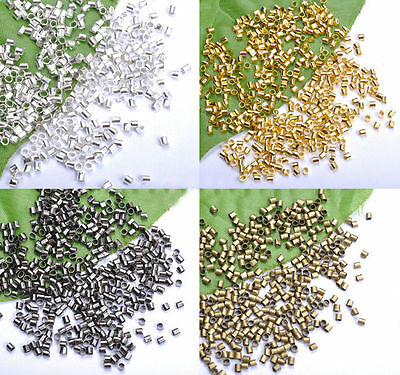 Wholesale 500/1000Pc Silver/Gold/Black/Bronze Tube Crimp End Beads 1.5mm And 2mm