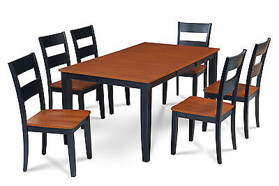 Rectangular Dining Room Table Set With Wood Seat Chairs In Black & Cherry