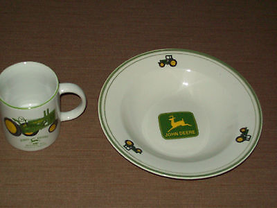 Collectible John Deere Salad/soup Dish And Cup/mug With Madel A Tractor Picture