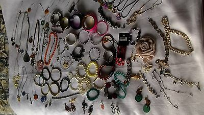 job lot of costume mixed jewellery bracelet-bangle- brooches  etc. over 90 items