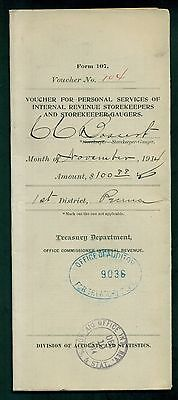 1914 Internal Revenue Storekeepers Voucher for Personal Services Form 107