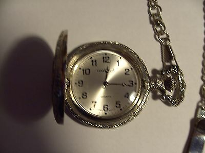 POCKET WATCH MINT CONDITION WORKS PERFECT locomotive on the flip open cover