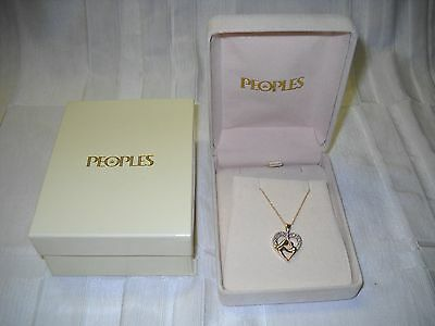10k Yellow Gold and Diamond Heart Pendant with 10k Yellow Gold Chain boxed