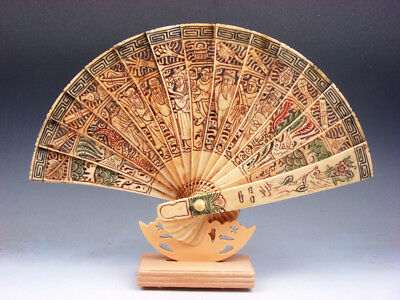 Bone Trees Peaches Flowers Birds 8 Immortals Hand Carved Painted Fan w/ Stand