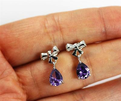 Solid 925 Sterling Silver, Purple Amethyst Bowknot Stud Drop/ Dangle Earrings