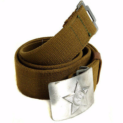 Soviet Army Olive Canvas Belt with Silver Star Buckle WW2