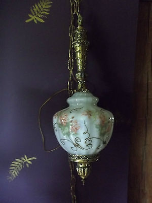 Shabby Chic hanging light glass with Pink Roses /brass fittings chain hand paint