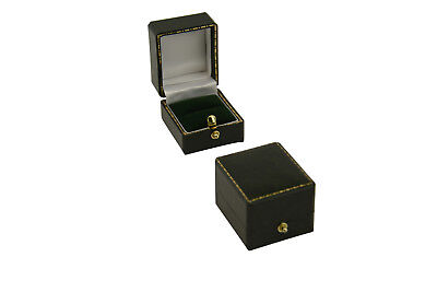 1 Green Antique Leatherette Style Ring Box Gift Display Jewellery Packaging Case