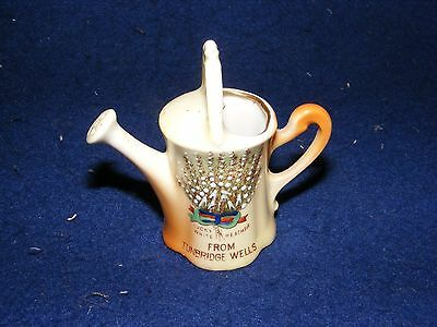 Vintage Crested China Tunbridge Wells Watering Can White Heather Gemma