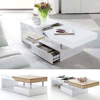 ModaNuvo Modern White Gloss & Oak Extending Storage Coffee Table With Drawer