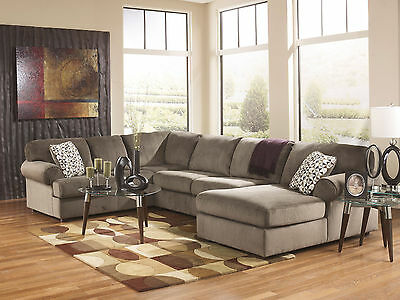 LAKESIDE - Modern Brown Microfiber Living Room Sofa Couch Chaise Sectional Set