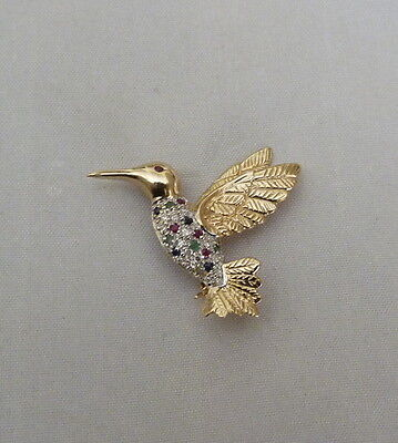 14K Gold 1/4 Ctw Diamond Ruby Sapphire Emerald Hummingbird Pin 5.3 Grams New