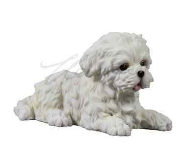 Maltese Puppy Statue Sculpture Figurine - GIFT BOXED