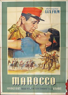 MANIFESTO, MAROCCO Outpost in Morocco GEORGE RAFT, TAMIROFF, POSTER AFFICHE RARO