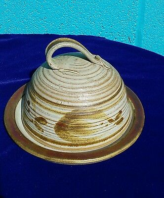 Vintage Highland Stoneware dome cheese dish Hand Thrown Pottery