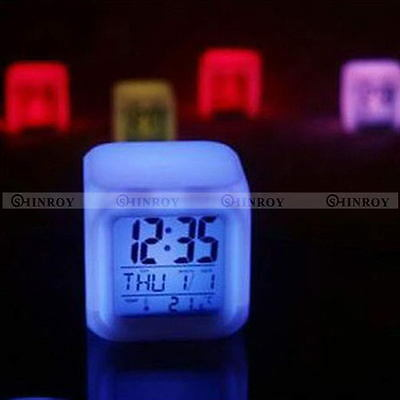 7 Color LED Changing Glow Alarm Clock Bedroom Digital Termometer Display