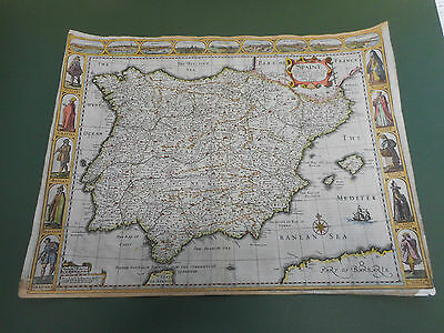 100% Original Spain Map By John Speed C1663 Edition Vgc  Hand Coloured