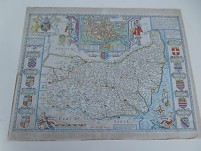 100% Original Large Suffolk  Map By John Speed C1676 Bhand Coloured