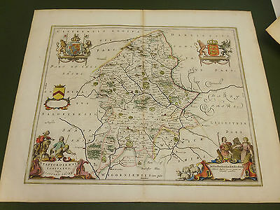 100% Original Large Staffordshire Map By J Blaeu C1648 Hand Coloured