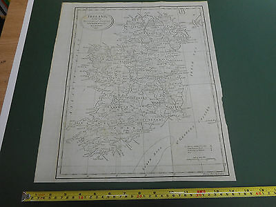 100% Original Large Ireland Map By  J Russell C1802 Vgc
