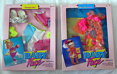 2 Baby Face Fashions MINT IN BOX Goin' Swimming & Workin' Out Galoob 1990 Cute!