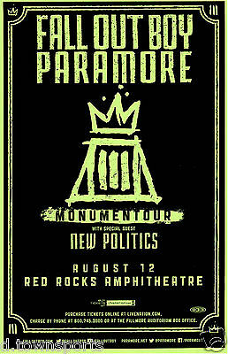 FALL OUT BOY & PARAMORE w/ New Politics Red Rocks 2014 Show Flyer / Gig Poster