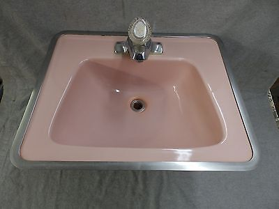 Vtg Ceramic Pink Porcelain Drop In Lavatory Sink Mid Century Bathroom 2388-16
