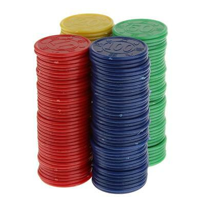 160 Plastic Poker Chips Red Green Blue Yellow In Box Easy Stacking Washable